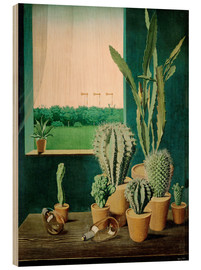 Wood print  Cacti and semaphores - Georg Scholz