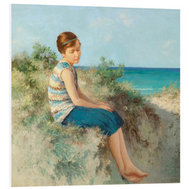 Foam board print  Girl in the dunes by the North Sea beach on Sylt - Hermann Seeger