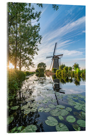 Acrylic print  Sunset Windmill landscape - Remco Gielen
