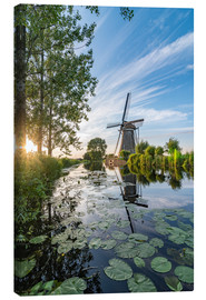Canvas print  Sunset Windmill landscape - Remco Gielen