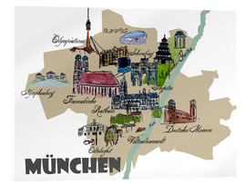 Acrylic glass  Munich Map Overview Best Of Highlights - M. Bleichner