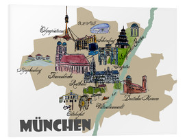 Foam board print  Munich Map Overview Best Of Highlights - M. Bleichner