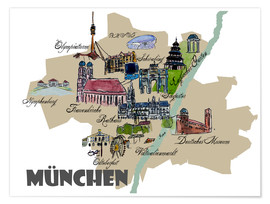 Premium poster Munich Map Overview Best Of Highlights