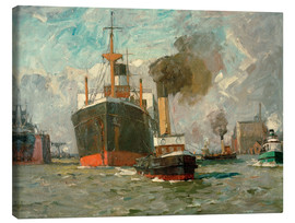 Canvas print  Of incoming steamer (Hamburg) - Leonhard Sandrock