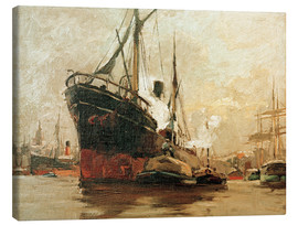 Canvas print  Steamers in port - Leonhard Sandrock
