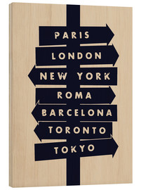 Wood print  City signs travel locations art print - Nory Glory Prints