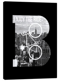 Canvas print  Enjoy the ride bicycle graphic monogram - Nory Glory Prints