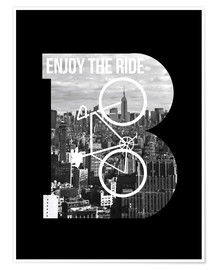 Premium poster  Enjoy the ride bicycle graphic monogram - Nory Glory Prints
