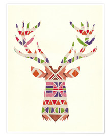 Nory Glory Prints - Ethnic native deer Ikat wild animal