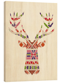 Wood print  Ethnic native deer Ikat wild animal - Nory Glory Prints
