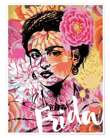 Poster  Frida Kahlo ethnic pop art floral illustration - Nory Glory Prints