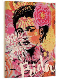 Wood  Frida Kahlo ethnic pop art floral illustration - Nory Glory Prints