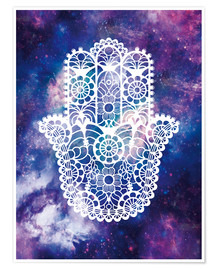 Premium poster  Floral Hamsa Hand Space floral art print - Nory Glory Prints