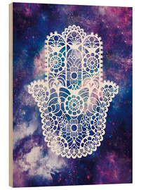 Wood print  Floral Hamsa Hand Space floral art print - Nory Glory Prints