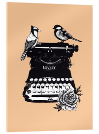 Acrylic print  Birds on typewriter machine vintage art print - Nory Glory Prints
