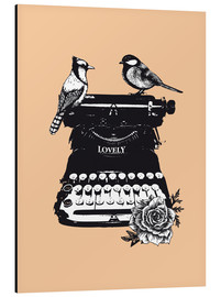 Aluminium print  Birds on typewriter machine vintage art print - Nory Glory Prints