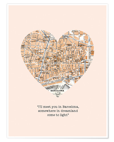 Premium poster I'll meet you in Barcelona - Romance Typo