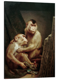 Alu-Dibond  The art critic - two monkeys look at a painting - Gabriel von Max