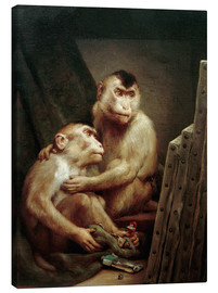 Canvas print  The art critic - two monkeys look at a painting - Gabriel von Max