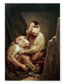 Premium poster The art critic - two monkeys look at a painting