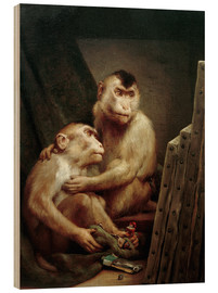 Wood print  The art critic - two monkeys look at a painting - Gabriel von Max