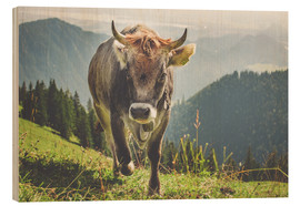 Wood  Cow in the Mountains - Michael Helmer