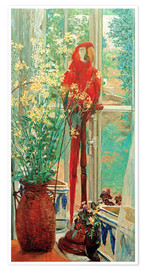 Premium poster Flower still life with parrot at the window