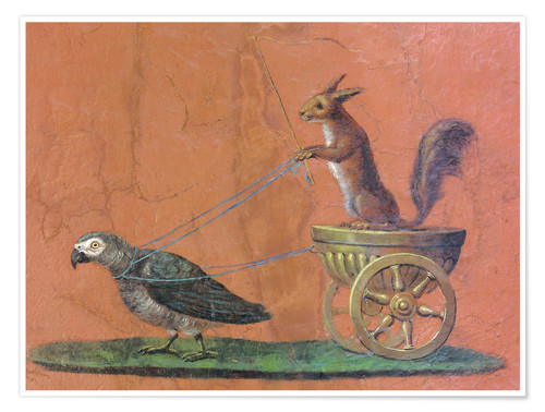 Premium poster Parrot draws cars with squirrels