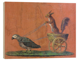 Wood print  Parrot draws cars with squirrels