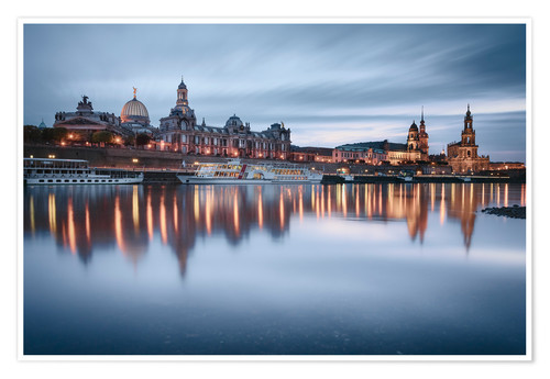 Premium poster Dresden old town at the blue hour