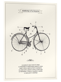 Acrylic glass  Vintage parts of a Bicycle anatomy - Nory Glory Prints
