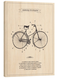 Wood print  Vintage parts of a bicycle anatomy - Nory Glory Prints