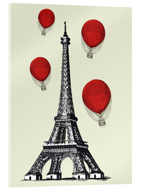 Acrylic print  Vintage Paris Eiffel tower and red ballons - Nory Glory Prints
