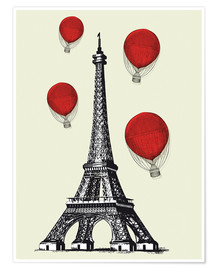 Poster Vintage Paris Eiffel tower and red ballons
