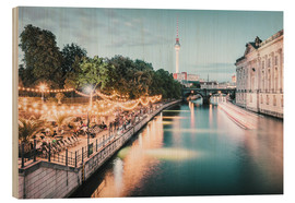 Wood print  Strandbar Mitte in Berlin at the blue hour - Philipp Dase