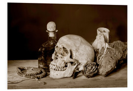 Forex  Still Life - skull, ancient book, dry rose and candle