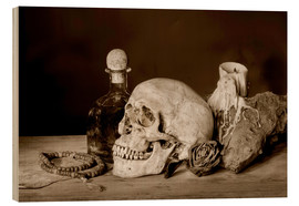 Wood  Still Life - skull, ancient book, dry rose and candle