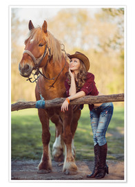 Premium poster young cowgirl and horse