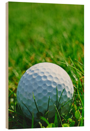 Wood print  Golf ball in the grass
