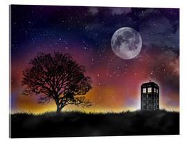 Acrylic glass  Doctor who tardis night sky tv serie inspired art print - Golden Planet Prints