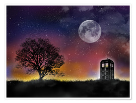 Premium poster  The Tardis at night, Doctor Who - Golden Planet Prints