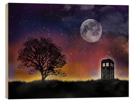Wood  The Tardis at night, Doctor Who - Golden Planet Prints
