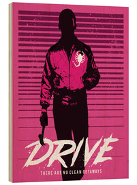 Wood  Drive ryan gosling movie inspired art print - Golden Planet Prints