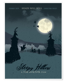 Poster Sleepy hollow heads will roll movie inspired art print
