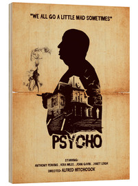 Wood print  Psycho - Golden Planet Prints