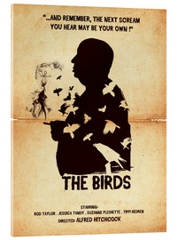 Acrylic glass  The birds movie inspired hitchcock silhouette art print - Golden Planet Prints