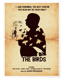 Premium poster The birds movie inspired hitchcock silhouette art print