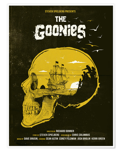 Poster The Goonies movie inspired skull never say die art