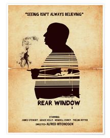 Poster Rear window movie inspired hitchcock silhouette art print