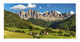 Premium poster  Funes Valley, Dolomites, South Tyrol - Achim Thomae